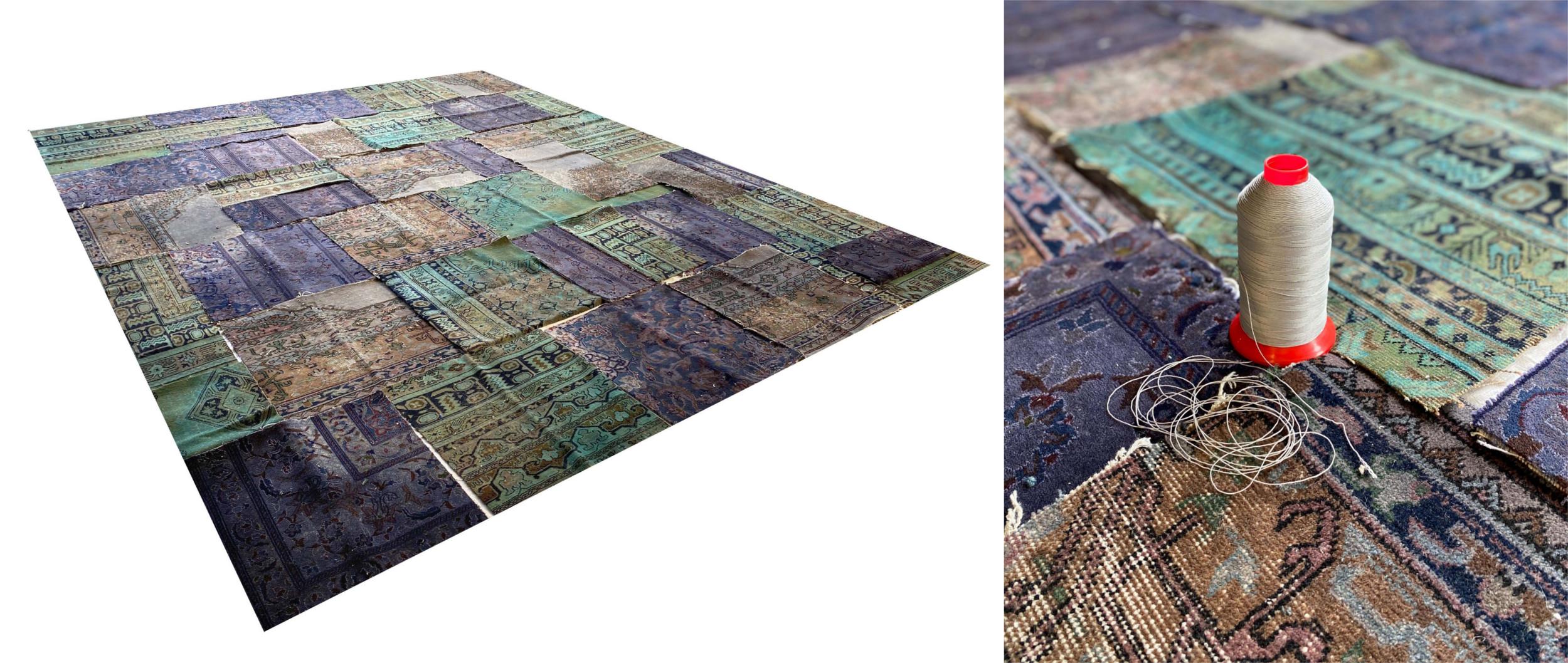 Designerteppich Layout mashup collectors lilac turquoise