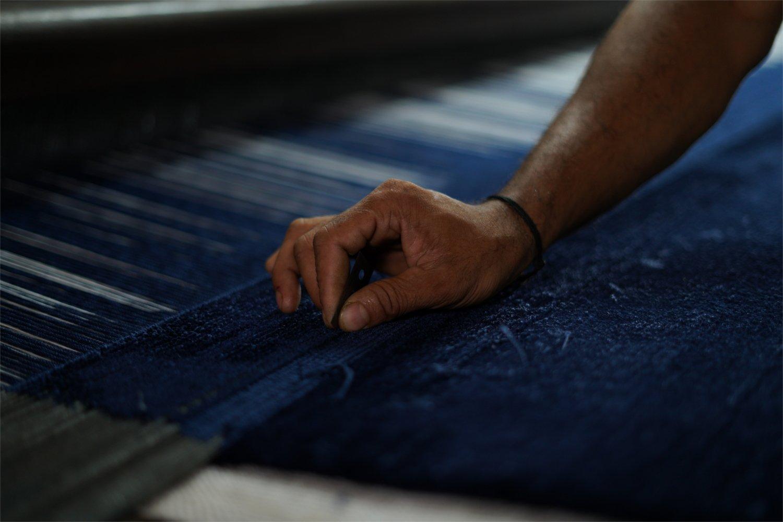 high pile rug handwoven blue STUDIO NYC kymo