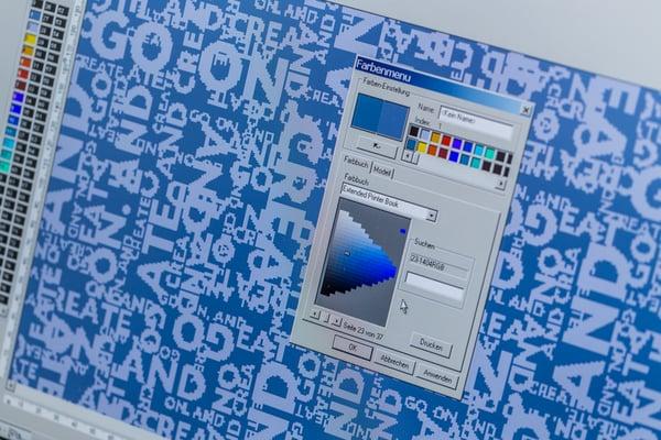 Grafikdesign Farbauswahl im Farbmenü  für Textilentwurf