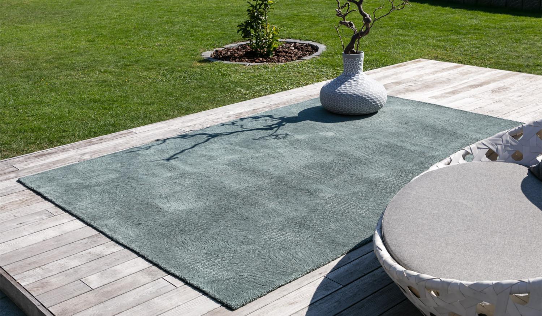 Moderner wasserfester Outdoorteppich Designerteppich für Terrasse und Balkon New Waves Outdoor