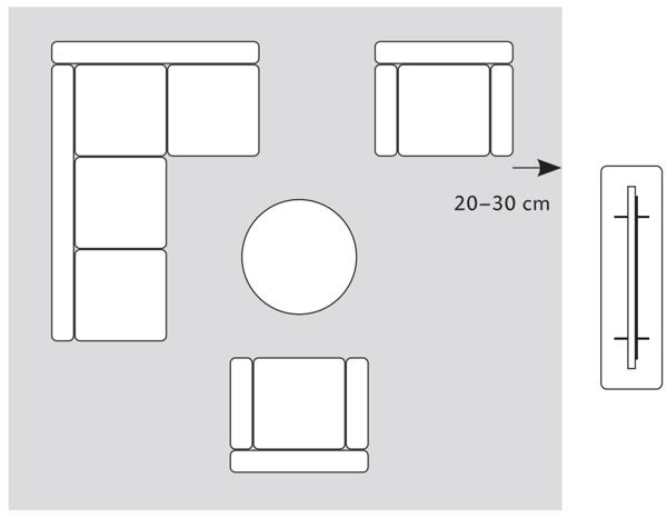 Teppich für große Wohnzimmer Sitzgruppe