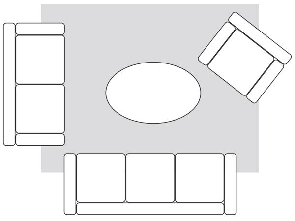 Teppich kleines Wohnzimmer optimal platzieren Raum größer wirken lassen