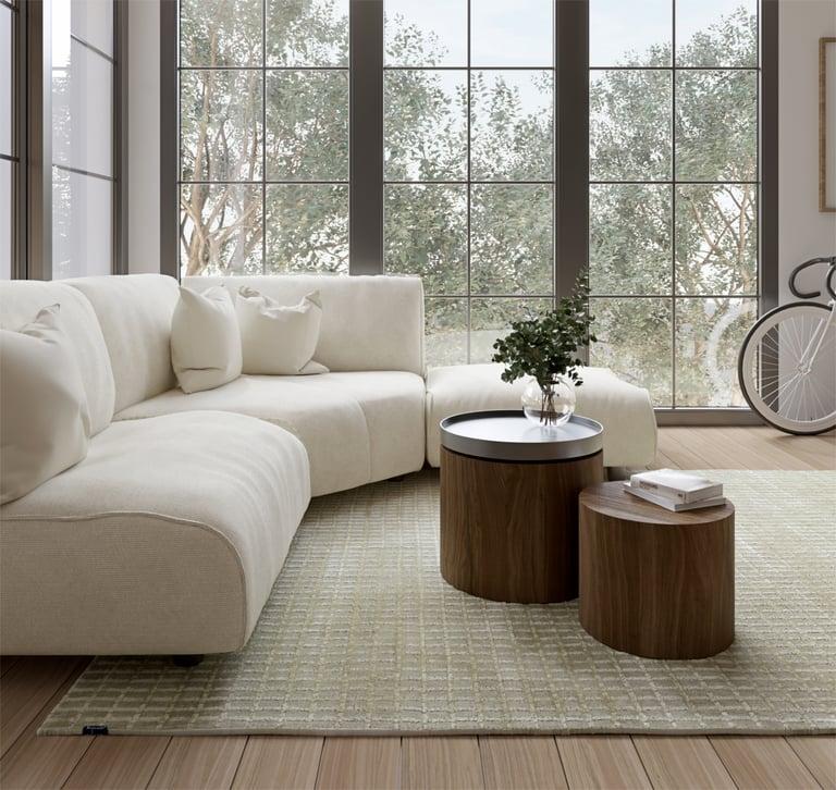Sequence Bauhaus inspired rug modern living unicoloured minimalist pattern