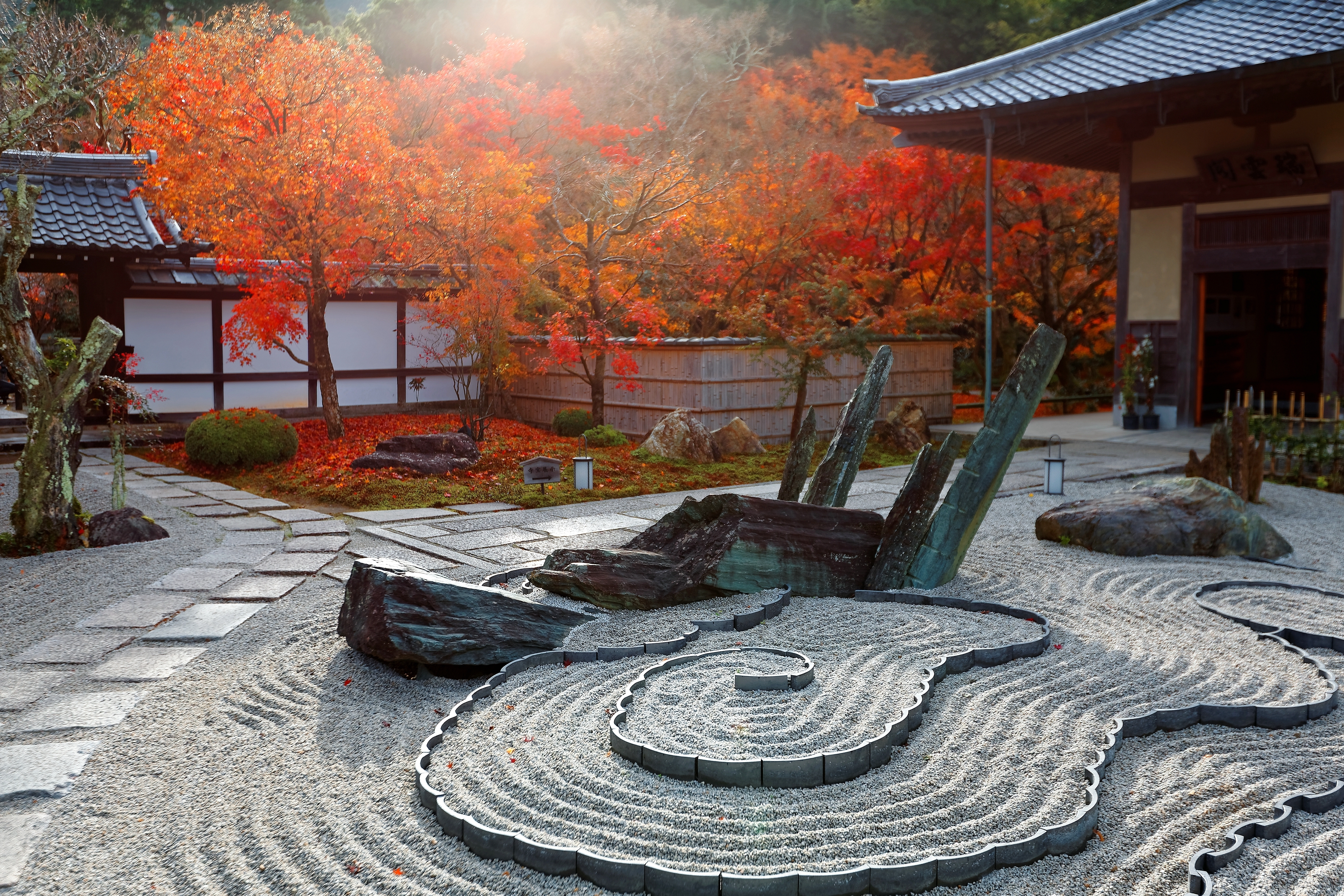 autumn scenery japanese rock garden zen garden dry landscape or karesansui in morning