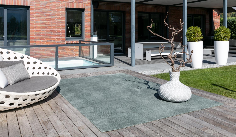 Moderner wasserfester Outdoorteppich Designerteppich für drinnen und draußen
