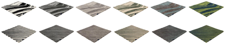 Teppichmuster 100 Prozent recycletes PET 6 Farben 2 Designvarianten