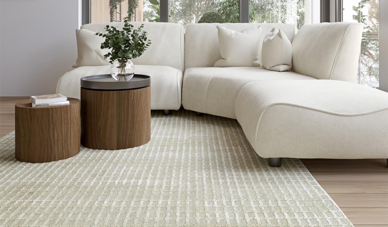 moderner gestreifter Teppich im Bauhausstil Wolle Viskose matt glanz
